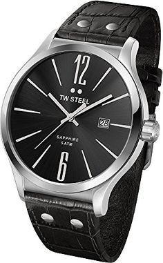TW Steel Unisex TW1300 Slim Stainless Steel Watch With Black Leather Band >>> To view further for this item, visit the image link.