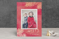 """Metallic Pine Brush"" - Foil-pressed Holiday Cards in Red Berry by Hooray Creative."