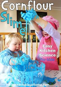 Learn with Play at home: Cornflour Slime. (Cornstarch Slime) How to make and what not to do! Fun and simple Kitchen science for kids.