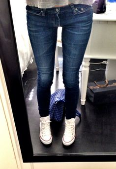 jeans / high top converse.
