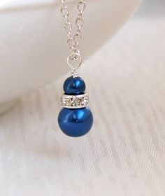 Bridesmaid Gift Sapphire Blue Pearl Necklace by LaurinWedding, $8.50