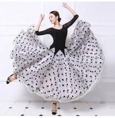 Black and white polka dot patchwork long length women's ladies female competition performance ballroom tango waltz dance dresses