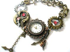 Watch Bracelet Steampunk Watch jewelry by FruttiTuttiBeadCandy