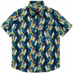 Roberto Cavalli Boys Blue Parrot Print Cotton Shirt  at Childrensalon.com
