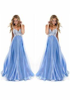 Blue Patchwork Lace Bridesmaid Prom Evening Party Plunging Neckline Chiffon  Maxi Dress. Abiti Da ... f34f32bea0c