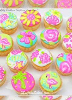 Tutorial!  Lilly Pulitzer-Inspired Cupcakes! MyCakeSchool.com