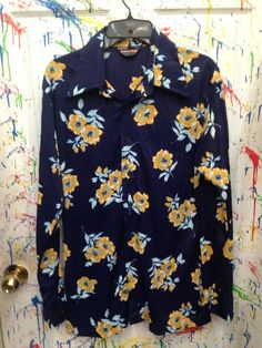Men's Vintage polyester pimp disco nylon long sleeve shirt size Large 16 blue yellow flower made on USA 1970s  RagsAGoGo