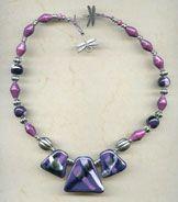 Necklace - Pansy Dragonfly @antelopebeads.com #kazuri #beading #pewter