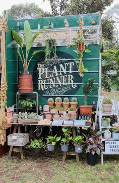 The Plant Runner Truck Bespoke indoor plant care products / Melbournes mobile indoor plant Nursery - Flower Truck, Flower Farm, Cactus House Plants, Cactus Decor, Cactus Art, Garden Center Displays, Farmers Market Display, Flower Shop Design, Garden Shop