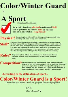 I see more how winter/colour guard is a sport more than table tennis. // We go through tears, we break and sprain things. bruises. bruises. bruises. Like gee it's a sport