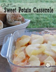 Best ever Thanksgiving sweet potato casserole! The surprisingly tangy/sweet flavor of the apples with the sweet potatoes is always a hit.
