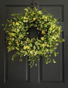 Boxwood Wreath with Yellow Tea Leaf Flowers - Summer Wreath - Front Door Wreaths - Office Wreath - Office Decor - Wreaths - Fall Wreaths