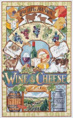 Janlynn Cross Stitch Kit, 10-Inch by 16-Inch, Wine and Cheese � Friendly Faces