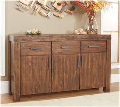 Modus Furniture Meadow Three Drawer Three Door Solid Wood Sideboard, Brick Brown