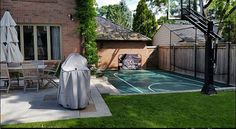 Basketball Court by Total Sport Solutions makes great use of otherwise unused space in the backyard Court surface is BounceBack ShockTower by SnapSports - Backyard Sports, Backyard For Kids, Backyard Patio, Outdoor Pool, Backyard Landscaping, Backyard Furniture, Furniture Ideas, Home Basketball Court, Sports Court