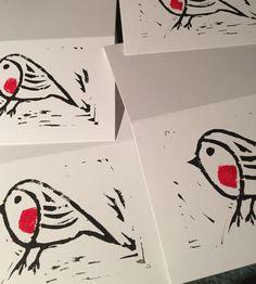 #Handmade Robin #linocut #Christmas #card