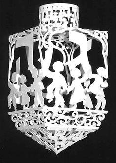 Hanukkah Dreidels Dreidels-Hand made by artist, Dancing Children Paper Dreidel | Jewish Bazaar