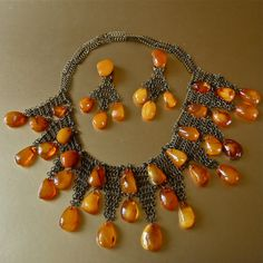 Rare Amber Set Baltic Butterscotch Honey Amber Bib Collar Necklace and Chandelier Earrings