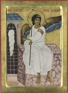 Angel at the empty tomb of Jesus the Christ. Byzantine Art, Byzantine Icons, Religious Icons, Religious Art, Angel Drawing, Archangel Gabriel, Angels Among Us, Faith In Love, Orthodox Icons