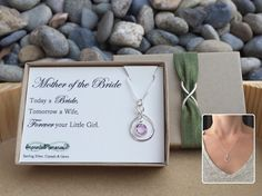 A personal favorite from my Etsy shop https://www.etsy.com/listing/237571039/mother-of-the-bride-gift-necklace-mother