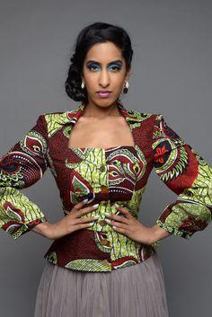 VENTE - Efe-shine africain impression adaptée veste par portail de GITA
