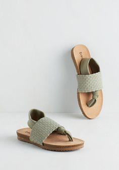 Loop, There It Is Sandal in Sage by Dirty Laundry - Green, Solid, Woven, Casual, Beach/Resort, Summer, Better, Slingback, Variation, Low, Woven