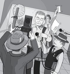 Man being ambushed by journalists. Media scrum of reporters and photographers surrounding a surprised man carrying a bag into hotel lobby. Dutch angle drawing of cartoon paparazzi with press card in hat.  Image from Stuart McMillen's comic Peak Oil (2015), from the book Thermoeconomics (2017).