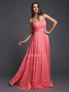 Fascinating A-Line/Princess Strapless Beading Floor-Length chiffon Evening Dresses
