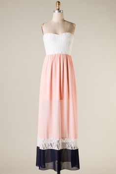 Whimsical Enchantment Strapless Lace Color Block Maxi Dress in Blush Cute Fashion, Modest Fashion, Fashion Dresses, Fashion Pics, Spring Fashion, Cute Dresses, Beautiful Dresses, Dress Skirt, Lace Dress