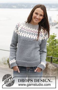 Free knitting patterns and crochet patterns by DROPS Design Drops Design, Crochet Pullover Pattern, Knit Crochet, Knit Cowl, Hand Crochet, Fair Isle Knitting Patterns, Knit Patterns, Tejido Fair Isle, Raglan Pullover
