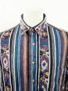 Vintage 90s Carharrt Geometric African Print American Cowboy Western Shirt XL