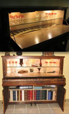 This was a piano! This gives me some ideas for my old piano. Refurbished Furniture, Repurposed Furniture, Furniture Makeover, Painted Furniture, Piano Desk, Piano Art, Do It Yourself Upcycling, Do It Yourself Home, Furniture Projects