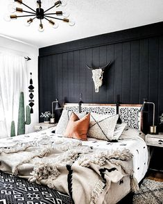 Room Ideas Bedroom, Dream Bedroom, Home Decor Bedroom, Lighting Ideas Bedroom, Bedroom Wall, Bright Bedroom Ideas, Master Bedroom, Black Bedroom Decor, Best Bedroom Colors