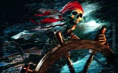 Get Sea Pirate Skull Wallpaper Wide or HD from Fantasy Wallpapers. Set Sea Pirate Skull Wallpaper high resolution image as your desktop background. Pirate Skeleton, Pirate Art, Pirate Skull, Pirate Life, Pirate Ships, Pirate Theme, Images Pirates, The Pirates, Pirates Of The Caribbean