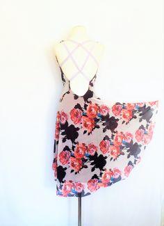 Cinnamon-Rose Open-Back Tango Dress.  Summer Dress. Summer Flower Dress. Halter Dress. Mesh Dress. Argentine Tango  Milonga Dress. by AtelierVertex on Etsy