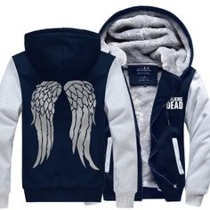 The Walking Dead thick fleece hoodie for winter Daryl Dixon angel wings hooded sweatshirt