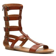 Steve Madden Gunterr Gladiator Sandal Cognac sandal with distressed gold adjustable buckles. Worn a few times. Good condition! You'll love them Steve Madden Shoes Sandals