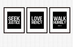 for my office: Seek Justice Art 3 Pc. Set Print Scripture Subway Wall Art Courageous Lyrics. $33.00, via Etsy.