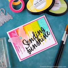 Throwback Thursday: Brushed Off - Sending Sunshine Card by Wanda Guess for Papertrey Ink (September 2017)