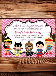 Superheroes Birthday Party Invitation, GIRL, Boy, Heroes Birthday Party, Pink, Blue, Black, Chevron Stripes, Printable, Digital. $20.00, via Etsy.