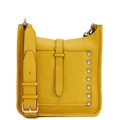Rebecca Minkoff Small Feed Hobo Bag (3,530 MXN) ❤ liked on Polyvore featuring bags, handbags, shoulder bags, gold, yellow leather purse, hobo shoulder bags, leather shoulder bag, yellow purse and hobo purses