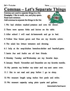comma in a series worksheets image | Commas in a Series Worksheet ...