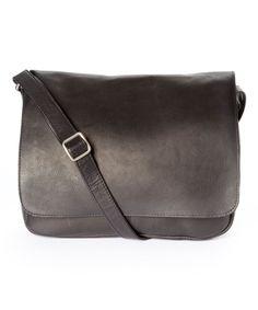 Black Fold-Over Leather Messenger Bag