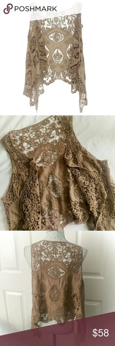 ⭐🆕Boho Vest Gorgeous bohemian crochet vest in beige. Perfect for this summer's festivals! Looks great with shorts, booties and braids. Beautiful intricate detail. Let out your inner hippie! New with tags in package. Tops