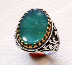 antique men ring ottoman green onyx agate aqeeq by AbuMariamJewels
