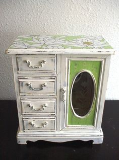 $60. Lovely Cream / Light Green Folra Wooden Jewelry Box, I repainted this beautiful wooden jewelry box with cream and light green acrylic paint .Then I decoupaged the vintage style paper on the top.