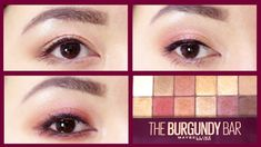 3 Eye Makeup Tutorial with Maybelline The Burgundy Bar Eyeshadow Palette # Make-up instruction Maybelline Eyeshadow, Glitter Eyeshadow, Eyeshadow Palette, Burgundy Eyeshadow, Eyeshadow Makeup, Glitter Makeup, Makeup For Burgundy Dress, Maroon Makeup, Maroon Hair Colors
