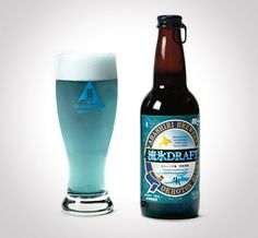 Abashiri, the makers of the Okohtsk Blue Draft Beer, first collect water from icebergs that float on to the beaches of a town called Hokkaido near the Sea of Okhotsk.