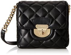 Women's Cross-Body Handbags - Calvin Klein 4BX Lamb Cross Body Bag BlackGold One Size ** Read more at the image link.