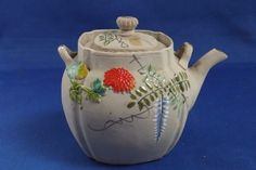Antique Banko Japanese Pottery Teapot with Wisteria & Mums Caligraphy Signiture #banko